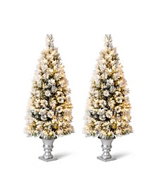 Pre-Lit Flocked Pine Artificial Christmas Porch Tree with 150 Warm White Lights, Set of Two, 5'