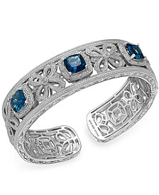 London Blue Topaz (7-3/4 ct. t.w.) and Diamond (1/10 ct. t.w.) Cuff Bangle Bracelet in Sterling Silver