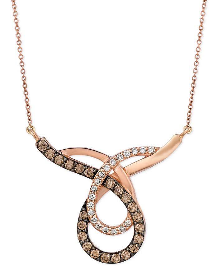 Le Vian - Chocolate (3/4 ct. t.w.) and White (1/4 ct. t.w.) Loop Pendant Necklace in 14k Rose Gold