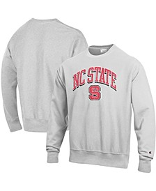 Men's Gray NC State Wolfpack Arch Over Logo Reverse Weave Pullover Sweatshirt