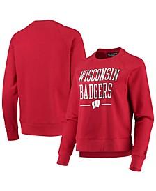 Women's Red Wisconsin Badgers All Day Fleece Raglan Pullover Sweatshirt
