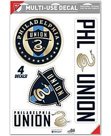 Multi Philadelphia Union Multi-Use Cut To Logo Decal Sheet, Pack of 4