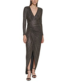 Side-Ruched Metallic Gown