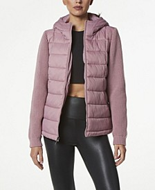 Women's Hooded Puffer Coat with Sweater Sleeves