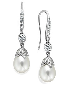 Bridal Cultured Freshwater Pearl (8mm) and Swarovski Zirconia (1-5/8 ct. t.w.) Leaf Drop Earrings in Sterling Silver