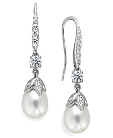 Arabella Bridal Cultured Freshwater Pearl (8mm) and Swarovski Zirconia (1-5/8 ct. t.w.) Leaf Drop Earrings in Sterling Silver