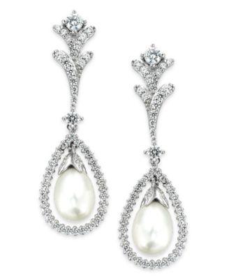Pearl Drop Earrings Sterling Silver Cultured Freshwater Pearls Wedding Bridal