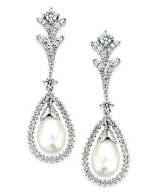 Bridal Cultured Freshwater Pearl (7mm) and Swarovski Zirconia (2 ct. t.w.) Drop Earrings in Sterling Silver