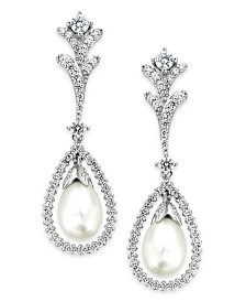 Arabella Bridal Cultured Freshwater Pearl (7mm) and Swarovski Zirconia (2 ct. t.w.) Drop Earrings in Sterling Silver