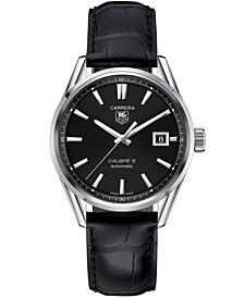 Men's Swiss Automatic Carrera Calibre 5 Black Leather Strap Watch 39mm