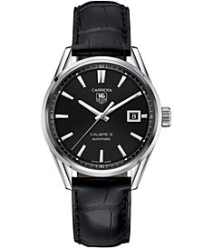 TAG Heuer Men's Swiss Automatic Carrera Calibre 5 Black Leather Strap Watch 39mm
