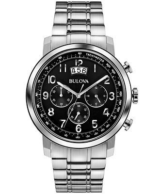 Bulova men 39 s chronograph stainless steel bracelet watch for Do pawn shops buy stainless steel jewelry