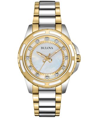 Bulova Women s Diamond Accent Two Tone Stainless Steel Bracelet