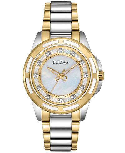Bulova Women's Diamond Accent Two-Tone Stainless Steel Bracelet Watch 32mm 98P140