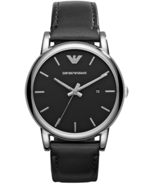 Emporio Armani Men's Black Leather Strap Watch 41mm AR1692