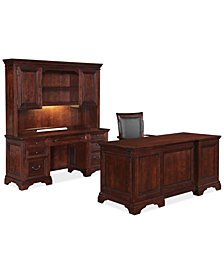 Cambridge Home Office Furniture, 4 Piece Set (Executive Desk, Credenza Desk, Desk Hutch and Desk Chair)