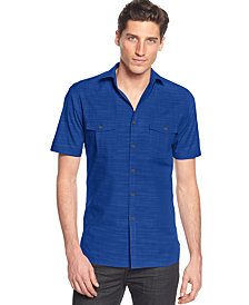 Alfani Men's Warren Textured Short Sleeve Shirt, Created for Macy's