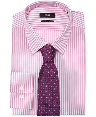 BOSS HUGO BOSS Fitted Pink Stripe Dress Shirt & Purple Dot Slim ...