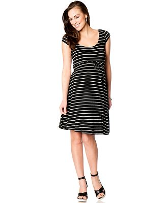 Motherhood Maternity Short-Sleeve Striped Fit-and-Flare Maternity ...