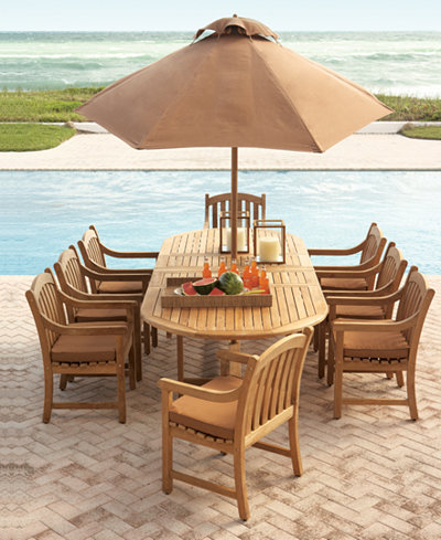 Bristol Teak Outdoor Dining Collection Furniture Macys - Teak outdoor dining table