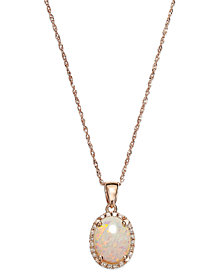 Opal (9/10 ct. t.w.) and Diamond Accent Oval Pendant Necklace in 14k Rose Gold