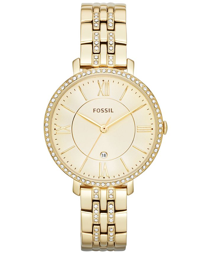 Fossil - Women's Jacqueline Gold-Tone Stainless Steel Bracelet Watch 36mm ES3547