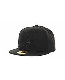 Kids' Atlanta Braves MLB Black on Black Fashion 59FIFTY Cap