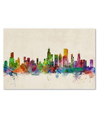 Chicago Skyline Wall Art chicago skyline' canvas printmichael tompsett - wall art - macy's