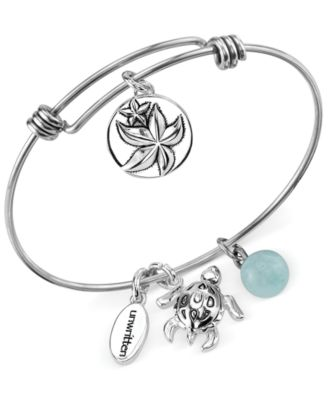 Image of Unwritten Wish Upon a Starfish Charm and Amazonite (8mm) Bangle Bracelet in Stainless Steel