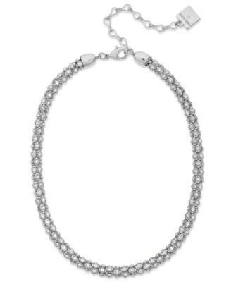 Image of Anne Klein Silver-Tone Pave Accent Tubular Collar Necklace