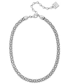 Anne Klein Silver-Tone Pave Accent Tubular Collar Necklace