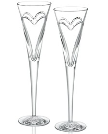 Waterford Stemware Love & Romance Toasting Flutes, Set of 2