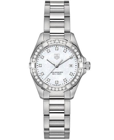 TAG Heuer Women's Swiss Aquaracer Diamond (9/20 ct. t.w.) Stainless Steel Bracelet Watch 27mm WAY1414.BA0920