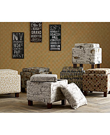 Kylee Accent Storage Ottomans with Pillows Collection, Quick Ship