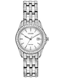 Citizen Women's Silhouette Crystal Eco-Drive Stainless Steel Bracelet Watch 28mm EW1901-58A