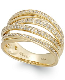 D'ORO by EFFY® Diamond Crossover Ring in 14k Gold (1/2 ct. t.w.)