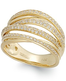 D'ORO by EFFY Diamond Crossover Ring in 14k Gold (1/2 ct. t.w.)