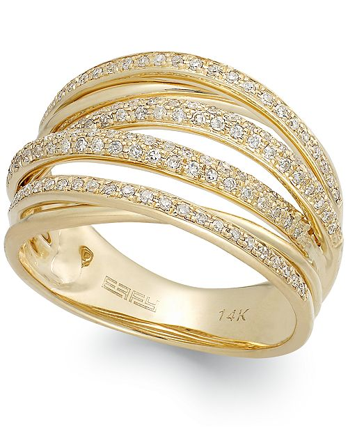 EFFY Collection  D'ORO by EFFY® Diamond Crossover Ring in 14k Gold (1/2 ct. t.w.)