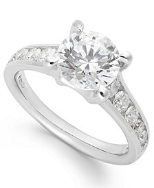 X3 Certified Diamond Engagement Ring in 18k White Gold (1 - 2-1/4 ct. t.w.), Created for Macy's