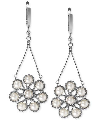 Effy Cultured Freshwater Pearl Flower Cluster Drop Earrings in Sterling Silver (4-1/2mm)