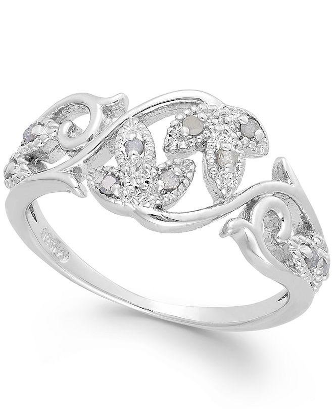 Macy's Diamond Vine Ring in Sterling Silver (1/10 ct. t.w.)