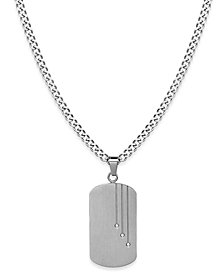 Sutton by Rhona Sutton Men's Stainless Steel Cubic Zirconia Dog Tag Pendant Necklace