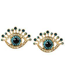 Gold-Tone Glass Stone and Enamel Eye Stud Earrings