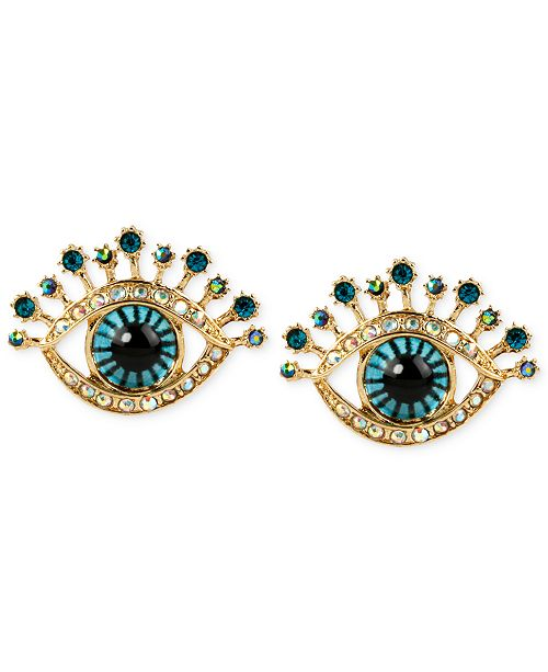 Betsey Johnson Gold Tone Glass Stone And Enamel Eye Stud