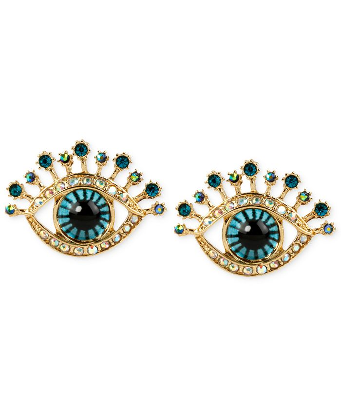 Betsey Johnson - Gold-Tone Glass Stone and Enamel Eye Stud Earrings
