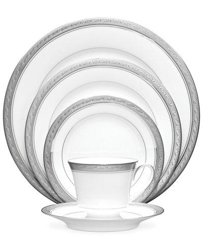 Noritake Dinnerware, Crestwood Platinum 5 Piece Place Setting - Fine ...