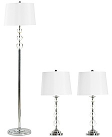 Set of 3 Chrome and Glass Accents Lamps: 2 Table Lamps and 1 Floor Lamp