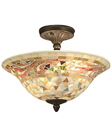 Mosaic Art Glass Semi-Flush Ceiling Fixture