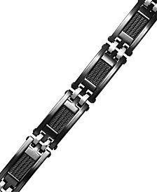 Sutton by Rhona Sutton Men's Black Ion-Plated Stainless Steel Cable Slot Link Bracelet