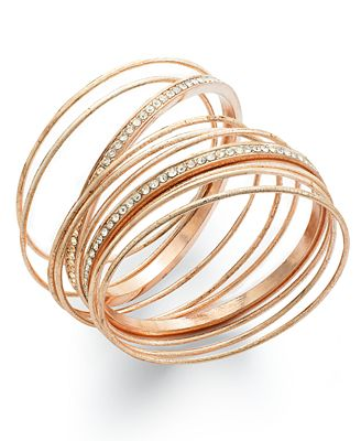 INC International Concept Rose Gold Tone Crystal Pavé Bangle